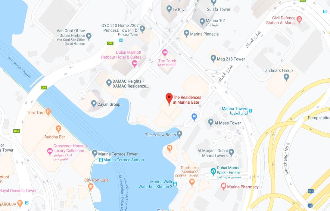 Jumeirah Living Marina Gate Location Map