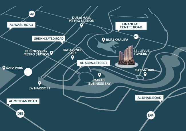 Bellevue Towers Location Map