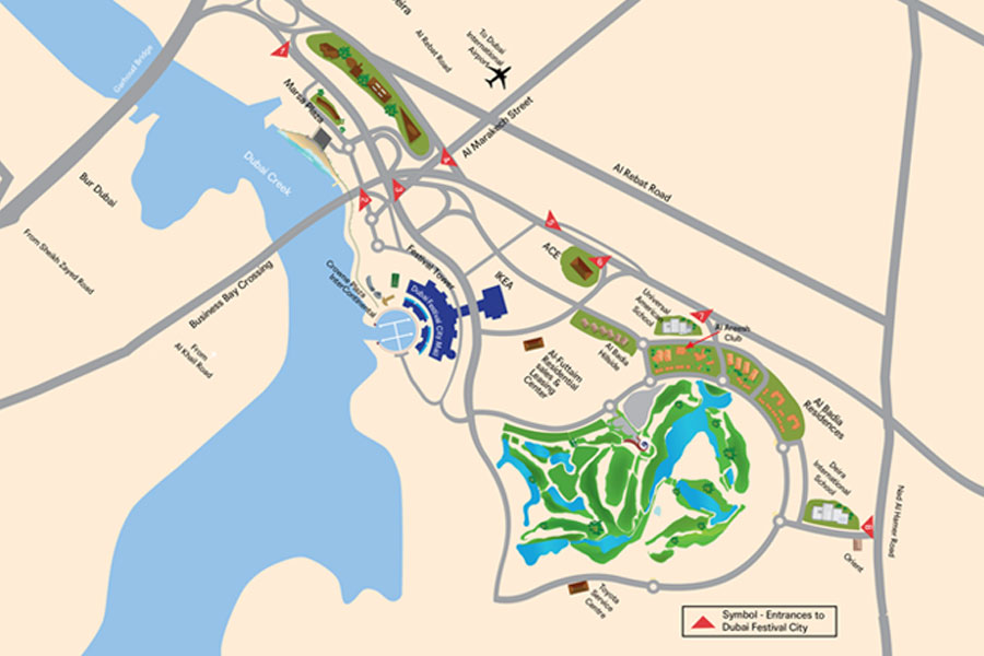 Al Badia Residences Dubai Festival City Al Futtaim Location Map